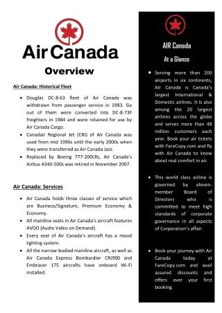 Air Canada - Air Canada Flights - Cheap Flights   Farecopy.com