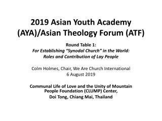 2019 Asian Youth Academy (AYA)/Asian Theology Forum (ATF)