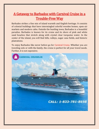A Getaway to Barbados with Carnival Cruise in a Trouble Free Way