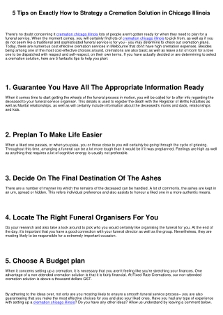5 Tips on Just How to Plan a Cremation Solution in Chicago Illinois