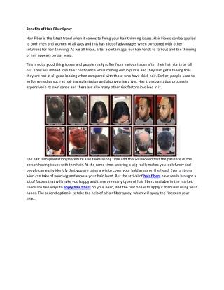 Benefits of Hair Fiber Spray