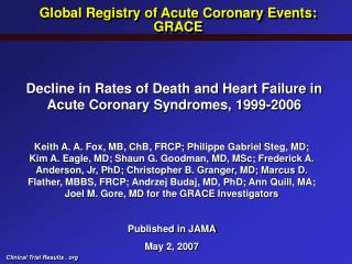 Decline in Rates of Death and Heart Failure in Acute Coronary Syndromes, 1999-2006