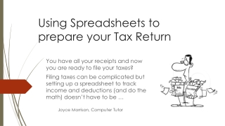 Using Spreadsheets to prepare your Tax Return