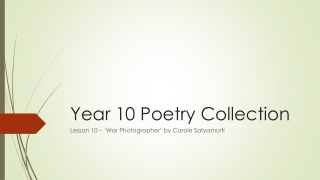 Year 10 Poetry Collection
