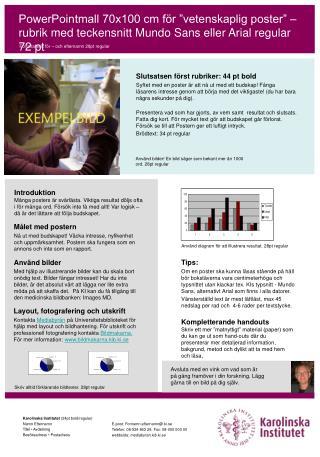 """PowerPointmall 70x100 cm för """"vetenskaplig poster"""" – rubrik med teckensnitt Mundo Sans eller Arial regular 72 pt"""