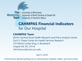 CAHMPAS Financial Indicators for Our Hospital