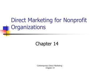 Direct Marketing for Nonprofit Organizations