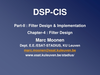 DSP-CIS Part-II : Filter Design & Implementation Chapter -4 : Filter Design