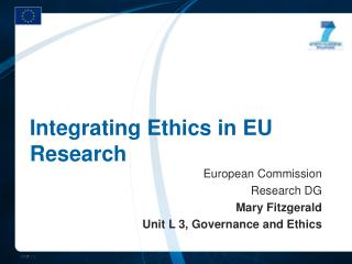 Integrating Ethics in EU Research