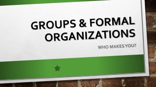 Groups & Formal organizations