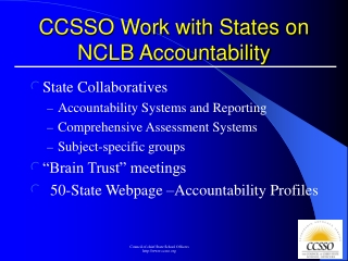 CCSSO Work with States on NCLB Accountability