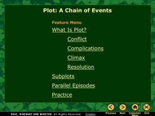 What Is Plot? Conflict Complications Climax Resolution Subplots Parallel Episodes Practice