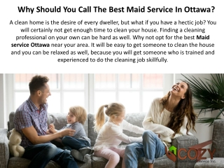 Why Should You Call The Best Maid Service In Ottawa