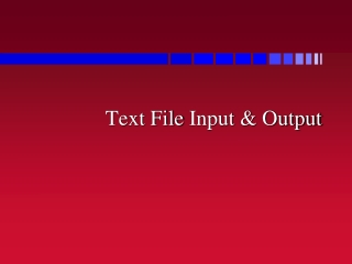 Text File Input & Output