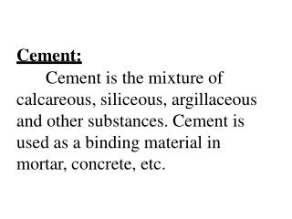 Cement:
