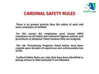 CARDINAL SAFETY RULES