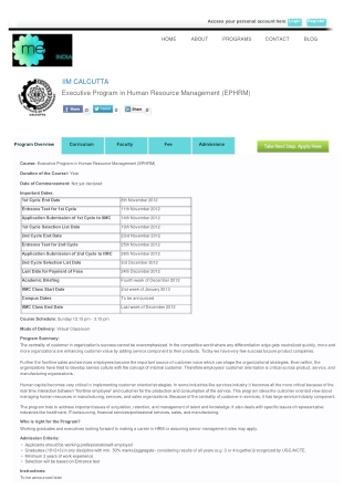 Executive Program in Human Resource Management (EPHRM) From