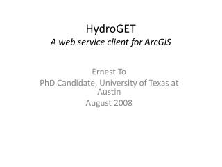 HydroGET A web service client for ArcGIS