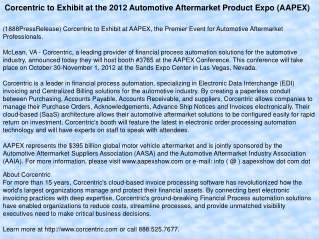 Corcentric to Exhibit at the 2012 Automotive Aftermarket Pro