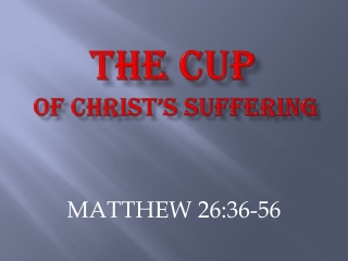 THE CUP OF CHRIST'S SUFFERING