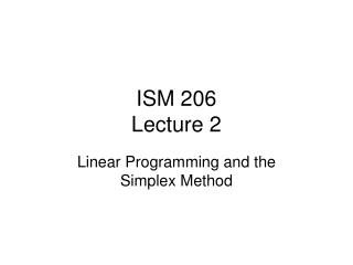 ISM 206 Lecture 2