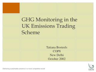 GHG Monitoring in the  UK Emissions Trading Scheme