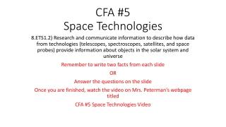 CFA #5 Space Technologies