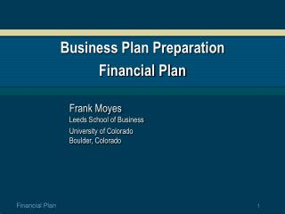 Business Plan Preparation Financial Plan