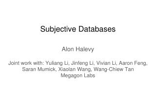 Subjective Databases