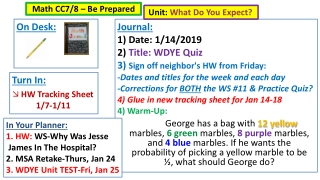 Journal: 1) Date: 1/14/2019 2) Title: WDYE Quiz 3 ) Sign off neighbor's HW from Friday: