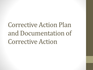Corrective Action Plan and Documentation of Corrective Action