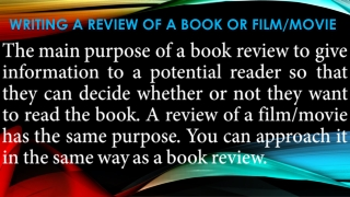 Writing a review of a book or film/movie