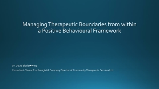 Managing Therapeutic Boundaries from within a Positive Behavioural Framework