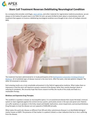 Stem Cell Treatment Reverses Debilitating Neurological Condition