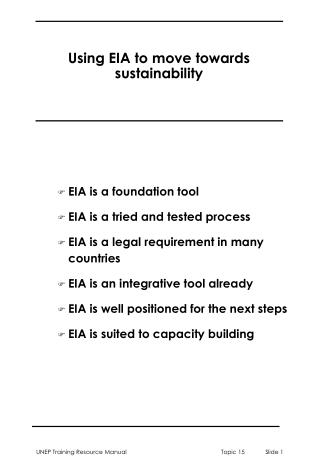 Using EIA to move towards sustainability