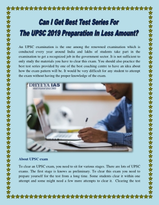 Can I Get Best Test Series For The UPSC 2019 Preparation In Less Amount?