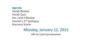 Agenda: Vocab Review Vocab Quiz Act I and II Review Hamlet's 3 rd Soliloquy Nunnery Scene