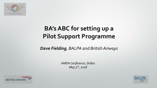 BA's ABC for setting up a Pilot Support Programme Dave Fielding , BALPA and British Airways