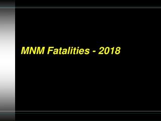 MNM Fatalities - 2018