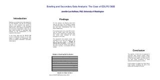 Bowling and Secondary Data Analysis: The Case of EDLPS 598BJennifer Lee Hoffman