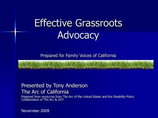 Effective Grassroots Advocacy Prepared for Family Voices of California