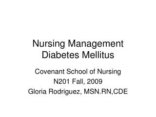 Nursing Management Diabetes Mellitus
