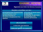 ERGONOMIE : DEFINITION Association Internationale dErgonomie - IEA