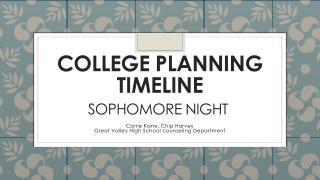 C ollege Planning Timeline Sophomore Night