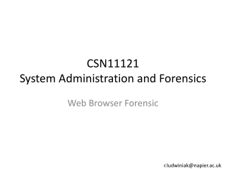 CSN11121 System Administration and Forensics