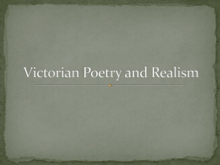 Victorian Poetry and Realism