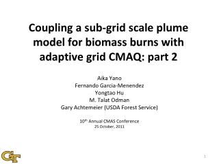Coupling a sub-grid scale plume model for biomass burns with adaptive grid CMAQ: part 2