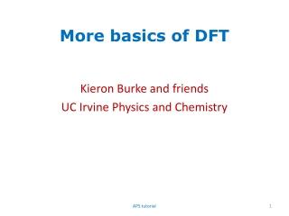 More basics of DFT