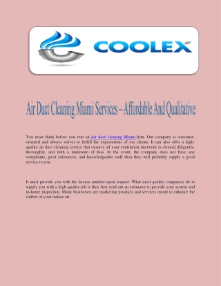 Air Duct Cleaning Miami Services – Affordable And Qualitative
