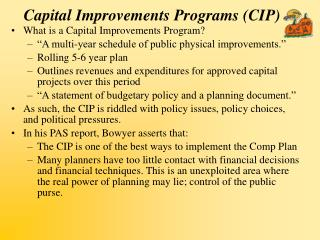 Capital Improvements Programs (CIP)
